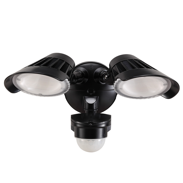 55-230 Twin LED Spotlight 40W With Motion Sensor (Black)